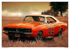 VINTAGE REPRODUCTION RACING POSTER GENERAL LEE DODGE CHARGER DUKES OF HAZARD