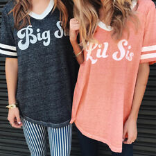 Best Friend T-Shirt Womens Short Sleeve Big Lil Sis Letter Print Tops Blouse Tee