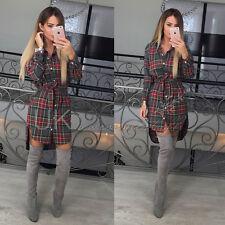 UK Womens Check Shirt Mini Dress Ladies Long Sleeve Plaid Romper Dress Size 6-14