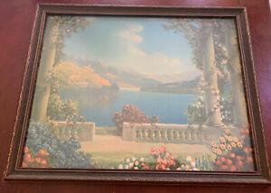 "Vintage ""BLUE LAKE"" R. Atkinson Fox 18"" x 14"" Glass Original Wood Framed Print"