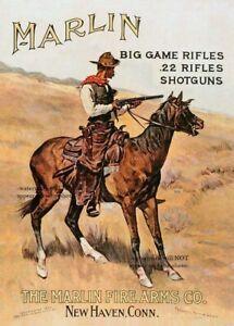 Vintage Marlin Rifle Ad PHOTO Shotguns 22 Rifles Cowboy Horse Rustic Sign Decor