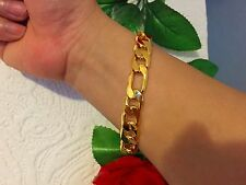 25cm L 12mm W 18k Gold Plated Chain Stoneless Bracelet Anklet Xmas Gift
