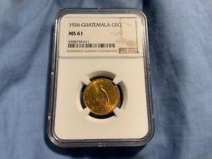 GUATEMALA GOLD 1926 5 Quetzales. NGC MS61 G5Q