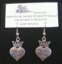 """FOR ALL """"KNITTING DIVAS"""" - shiny silver-plated earrings by Sandy of Scottsdale"""