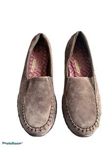 Skechers Shoes Relaxed Fit Memory Foam Biker Pedestrian Slip On Casual Brown 6.5