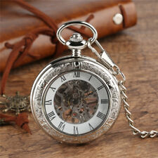 Silver Men Skeleton Hand Wind Mechanical Pocket Watch Roman Number FOB Chain