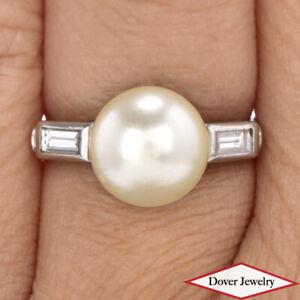 Antique Deco Diamond Pearl Platinum Elegant Ring NR