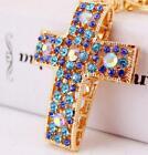 Betsey+Johnson+Jewelry+Pendant+Rhinestone+Cross+Charm+Golden+Chain+necklace+hot+