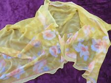 PRETTY LONG WIDE YELLOW / OCHRE CHIFFON SCARF SHAWL WITH PEACH ROSES AT BORDER
