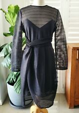 Blessed Are The Meek Size 12 Sheer Striped 3/4 Sleeve Black Pencil Dress