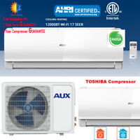 AUX 12000 BTU Ductless Air Conditioner Heat Pump MINI Split 115V 17SEE WiFi 25Ft
