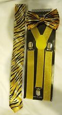 Unisex Tiger Animal Print Adjustable Bow Tie,necktie,& yellow glitter suspenders