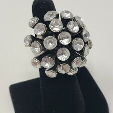 Silver Tone Rhinestone Cluster Chunky Cocktail Ring Statement Size 5.75