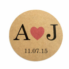 20 x Personalised Wedding Kraft Favour Stickers Labels Seals Couples Initials