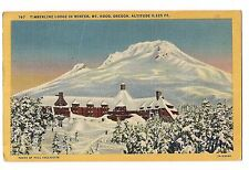 New TIMERBLINE LODGE Mt. HOOD Winter Sports Portland OREGON Postcard OR Linen