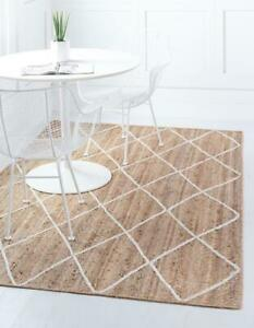 4x6 feet square indian handwoven jute Square rug with white dimond home decor