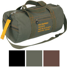 Cotton Canvas Travel Equipment Flight Carry Duffle Shoulder Bag (Small or Large)