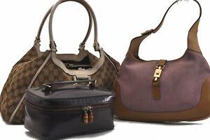 GUCCI Shoulder Hand Vanity Bag GG Canvas Suede Enamel Black 3Set Brown C2173