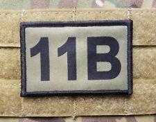 11B Infantry MOS OD Green Hook Back Morale Patch for Cap Bag, Multicam, etc.