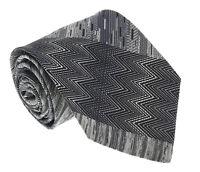 Missoni U0836 Silver/Black Chevron 100% Silk Tie
