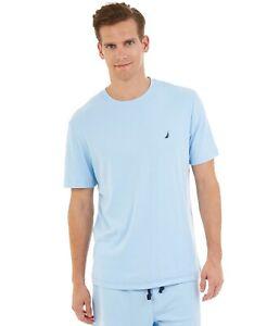 $62 Nautica Mens Pajamas Knit Crew-Neck T-Shirt Blue Sleepwear Nightshirt Size S
