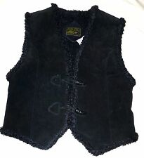Clean Lines Classic 70s 80s Leather Sherpa Vest M Ranch Western Outdoors Costume