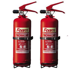 NEW x2 - 2 LTR FOAM FIRE EXTINGUISHERS HOME/OFFICE/BOAT