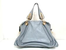 Authentic Chloe Gray Medium Paraty Leather Handbag w/ Shoulder Strap