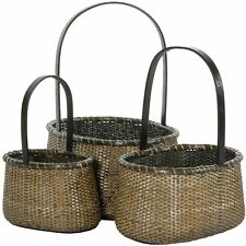 Oriental Furniture Rattan Round Handle Basket ( Set of 3 )