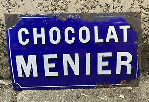 Ancienne plaque émaillée bombée CHOCOLAT MENIER Japy Frères
