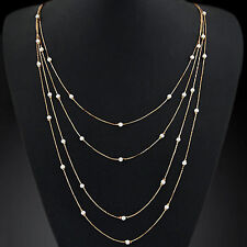 HK- Women's Elegant Multi Layers Long Chain Beads Charm Necklace Fashion Jewelry