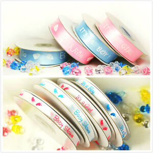 "Baby Shower Printed Satin Ribbon 25Yard Spool 7/8"" 3/8"" it's a boy/girl Spanish"