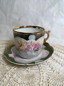 Vintage Victorian Mustache Cup & Saucer flowers Embossed Porcelain Gold trim