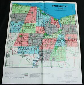 MONROE COUNTY NEW YORK HIGHWAY ROAD MAP 1962 ROCHESTER VICINITY VINTAGE