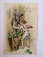 Geburtstag, Engel, Korb, Kleeblatt, Hufeisen, 1908, Prägekarten ♥ (40398)