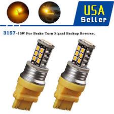 2X Amber/Yellow 3157 3156 15W Turn Signal Blinker Parking LED Light Bulbs