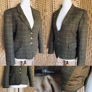 """VINTAGE DAKS Brown CHECK 100% Wool TWEED Hacking Jacket Sz 14 L24"""" POCKETS"""