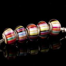 HOT 5pcs SILVER MURANO bead LAMPWORK fit European Charm Bracelet DIY D48