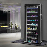 10 Tier Shoe Rack Cabinet 30 Pairs with Cover Wall Bench Shelf Shoe Tower Black