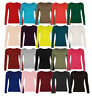 New Womens Kids Girls Long Sleeve Round Neck Plain Basic Ladies Stretch T-Shirt
