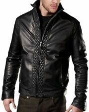 Real Leather Jacket Black Zipped Pockets Casual Fitted NEW Mens