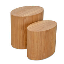 Scandinavian Bohemian Rustic Design Natural Timber Wood Side Table Stool Set