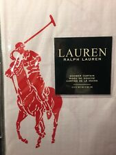 """RALPH LAUREN SHOWER CURTAIN 72"""" x 72 RED polo pony 100% COTTON White Fabric"""
