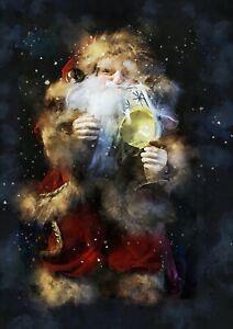 "Father Christmas / Santa Claus watercolour painting unique gift (Print) 5""x7"""