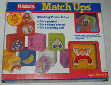 VTG Playskool Match Ups Matching Puzzle Cubes Toy Shape Sorter Stacking Set