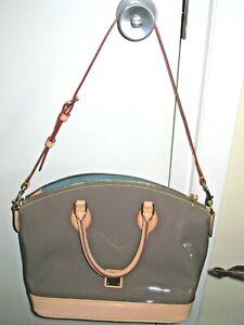 Dooney & Bourke Patent Leather Satchel with Vachetta Trim NWOT--Gray
