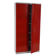 Aktenschrank Valberg H332, Metallschrank Büroschrank, 2 Türen 182x92x37cm, rot