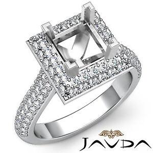 Halo Set Diamond Engagement Princess Shape Huge Ring 1.4Ct Platinum Semi Mount