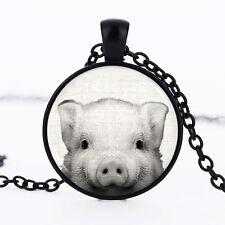 Pig Black Dome Glass Cabochon Necklace chain Pendant #396