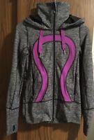 lululemon womens heather gray purple logo full zip athletic run jacket hoodie 2